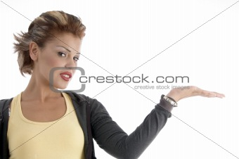 attractive woman with open palm