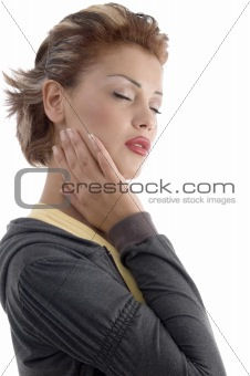 attractive woman with closed eyes