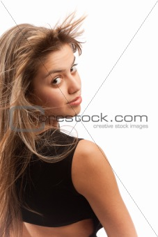 Attractive girl turning her head