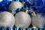 Silver spangled balls, beads and tinsel