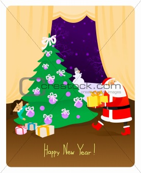 Santa Claus With Present - New Year Card