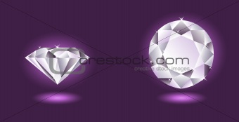 Vector diamond on purple background