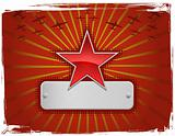 Vector illustration of red grungy star