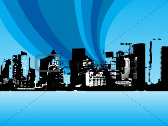grunge city background with wave, design1
