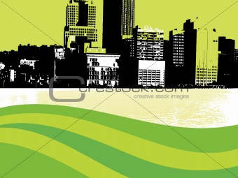 grunge city background with wave, design3