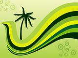 stylized background with palm tree and wave elements, design1