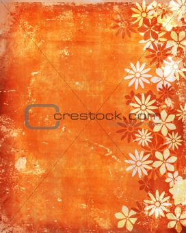 Old vintage background with flowers