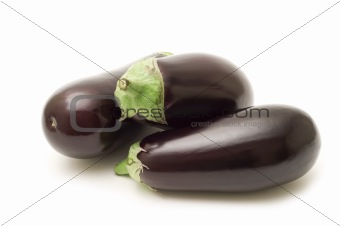 fresh aubergine on white background