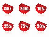 Sale sticker set with reflections