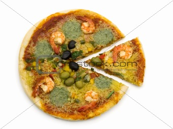 slice pizza with shrimp on white background