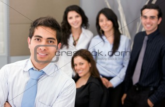 man leading a business team