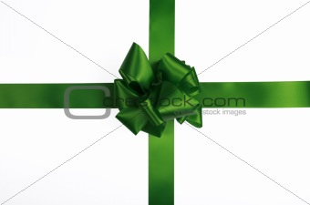 Green satin ribbon and bow