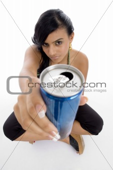 attractive female offering cold drink