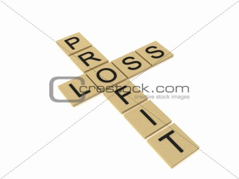 cross words showing profit and loss