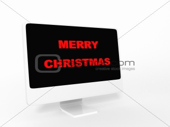 three dimensional merry christmas text on screen