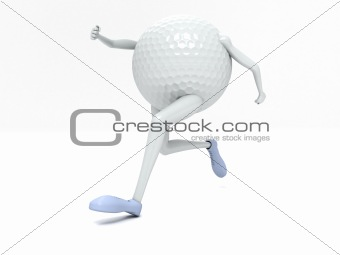 three dimensional front view of running golf ball