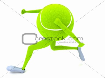 three dimensional running tennis ball