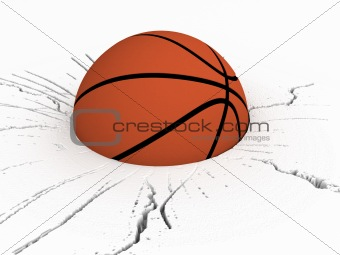 three dimensional front view of basket ball on cracked surface