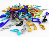 three dimensional bunch of musical notes