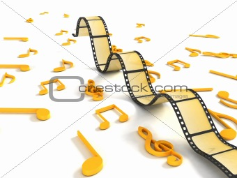 three dimensional negative roll with musical notes
