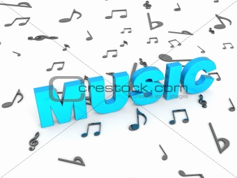 three dimensional blue rendered music text