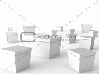 three dimensional white boxes