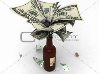 three dimensional view of currency in bottle