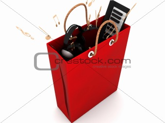 three dimensional shopping bag with musical equipments