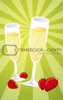 Champagne and strawberries illustration