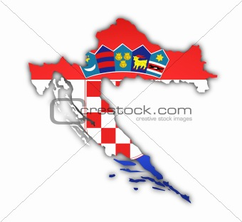 flag and map of croatia