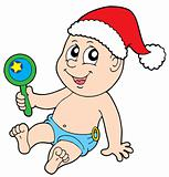 Christmas baby with rattle