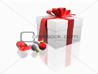 Christmas Gift Box with red Bow and Ornaments