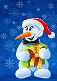 vector christmas snowman with gift