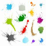Collection of various ink splatter symbols vector illustrations