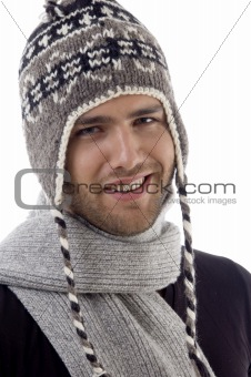 cool handsome guy wearing woolen cap