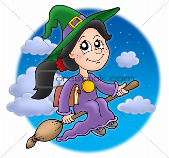 Cute witch on broom