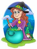Cute witch with kettle