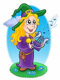 Cute witch with lyre