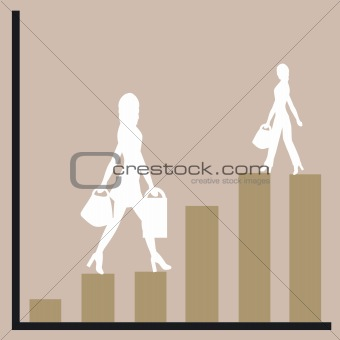 business chart and women