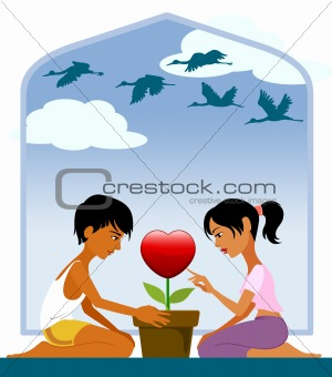 Couple at the Valentines tree