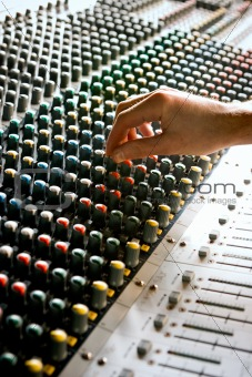 Sound studio mixing desk