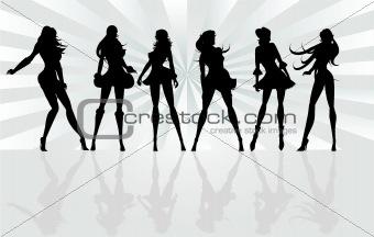 Posing Girls - Vector Silhouette Illustration