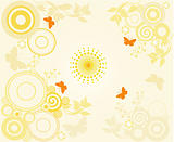 Background with circles and floral elements - ivector