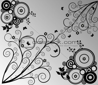 Background with circles and floral elements