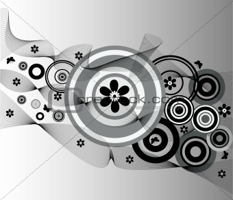 Background with circles and floral elements - vector