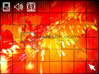 High tech world map illustration