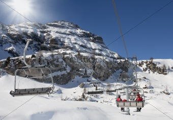 Ski lifts in the mountains in Dolomiti