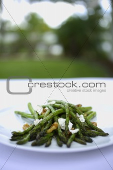 Grilled Asparagus with walnuts and goat cheese