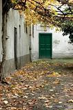 Autumn, green door