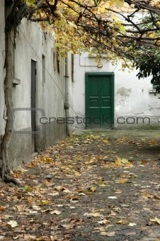 Autumn, green door